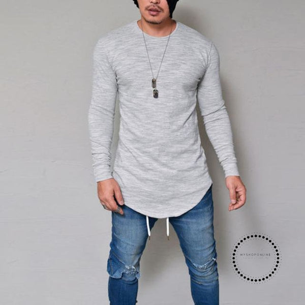 Street T-Shirt Wholesale Fashion Brand T Shirts Men Summer Long Sleeve Gray / S Accesorios