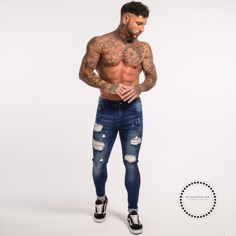 Stripe Ripped Jeans For Men Hip Hop Super Skinny Elastic Accesorios