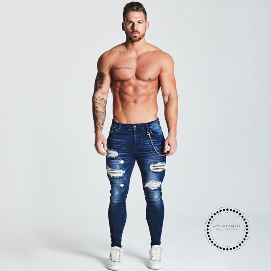Stripe Ripped Skinny Jeans For Men Classic Hip Hop Stretch Elastic Pant Designer Brand Fashion Slim