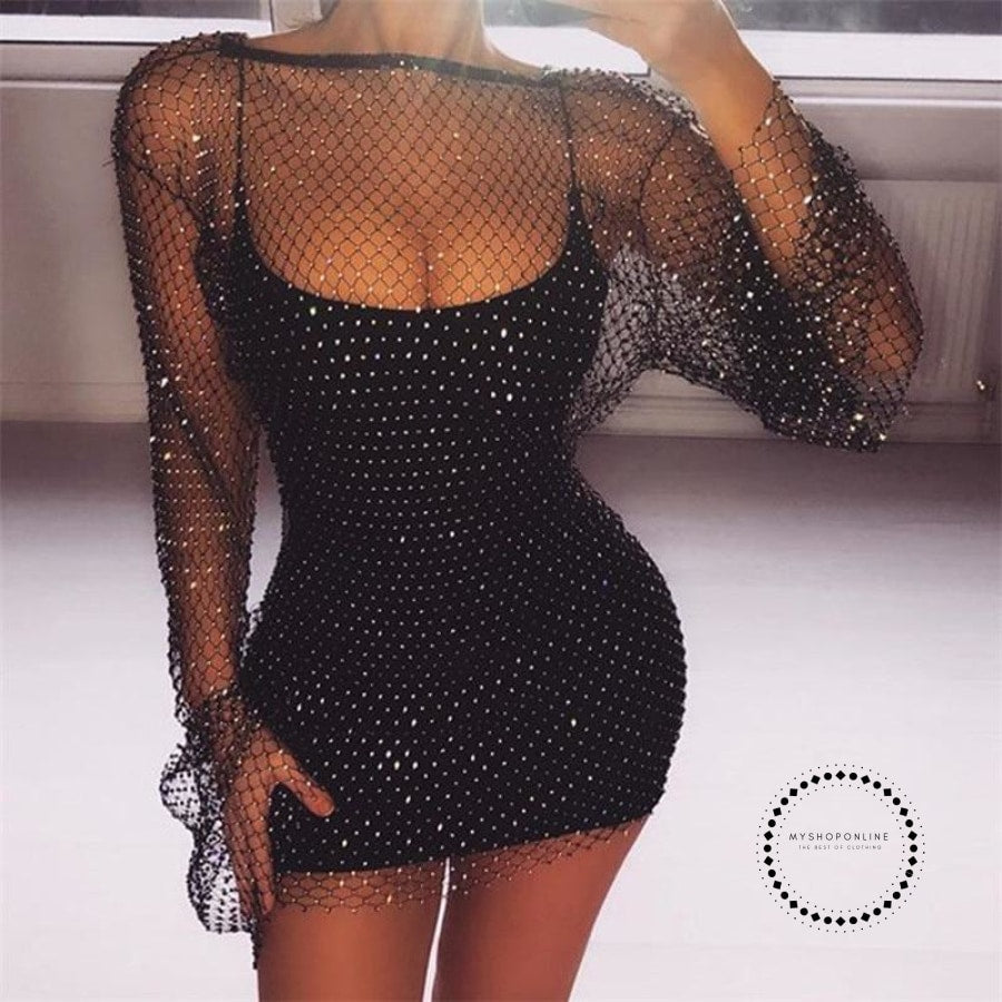 Summer Diamonds Mesh Patchwork Dresses Women Crochet Hollow Out Rhinestone Long Sleeve Party
