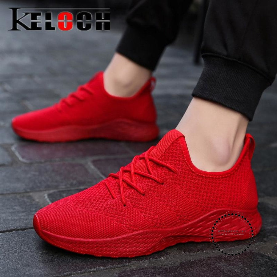 Summer Men Running Shoes Outdoor Jogging Training Sports Sneakers Breathable Mesh For Red K11 / 7.5