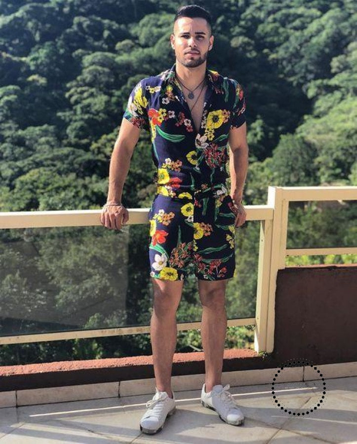 Summer Men Sets New Print Floral Short Sleeve Shirts Fashion Casual Fit Slim Turn-Down Collar Suits