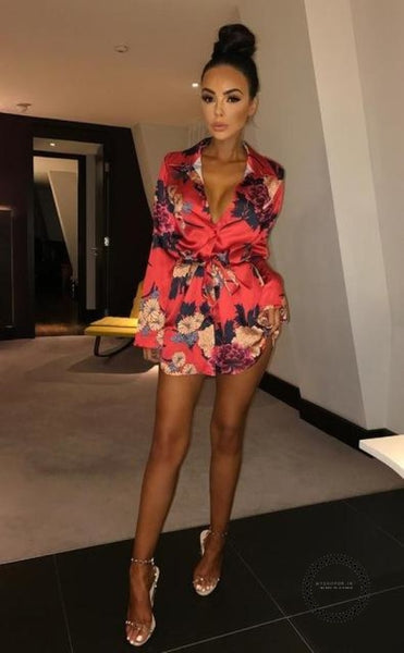 Summer Sexy Women Floral Long Sleeve Dress Lady Clubwear Evening Party Beach Red / S Accesorios
