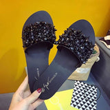 Summer Shoes Woman Rivet Glitter Designer Platform Sandals Women Bling Flip Flops Black Slides / 5