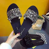 Summer Shoes Woman Rivet Glitter Designer Platform Sandals Women Bling Flip Flops Silver Slides / 5
