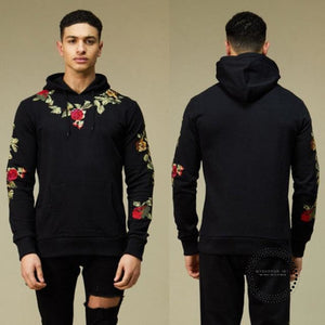 Sweatshirts Fashion Men Hoodies Long Sleeve Casual Floral Embroidery Hooded Tops Pullover Black / M