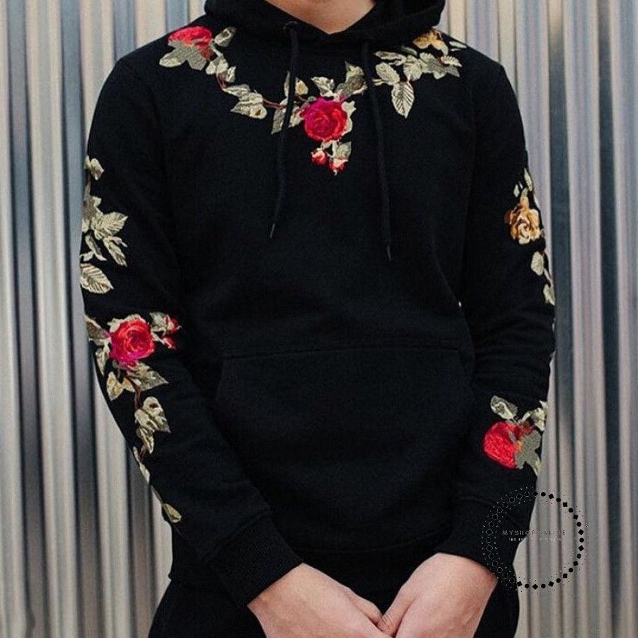 Sweatshirts Fashion Men Hoodies Long Sleeve Casual Floral Embroidery Hooded Tops Pullover