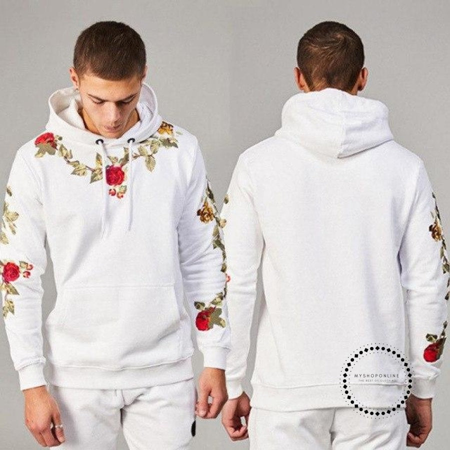 Sweatshirts Fashion Men Hoodies Long Sleeve Casual Floral Embroidery Hooded Tops Pullover White / M