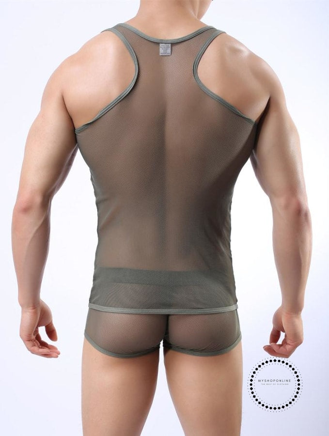 Transparent Mesh O-Neck Sexy Mens T-Shirt Tank Tops Undershirt Breathable Summer Accesorios