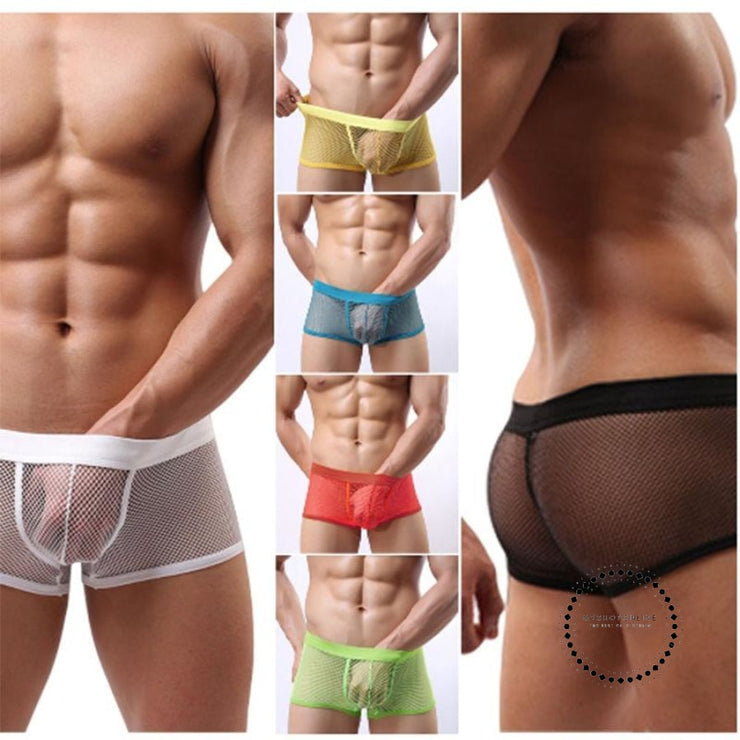 Transparent Sexy Men Mesh Underwear Shorts Accesorios