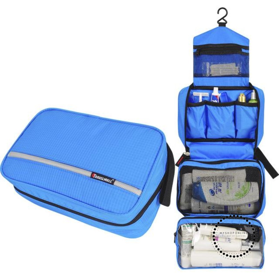 Travel Cosmetic Bag Men Wash Shaving Waterproof Toiletry Storage Large Capacity Blue