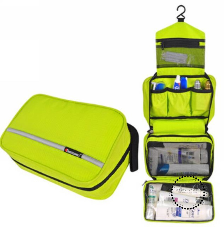 Travel Cosmetic Bag Men Wash Shaving Waterproof Toiletry Storage Large Capacity Green