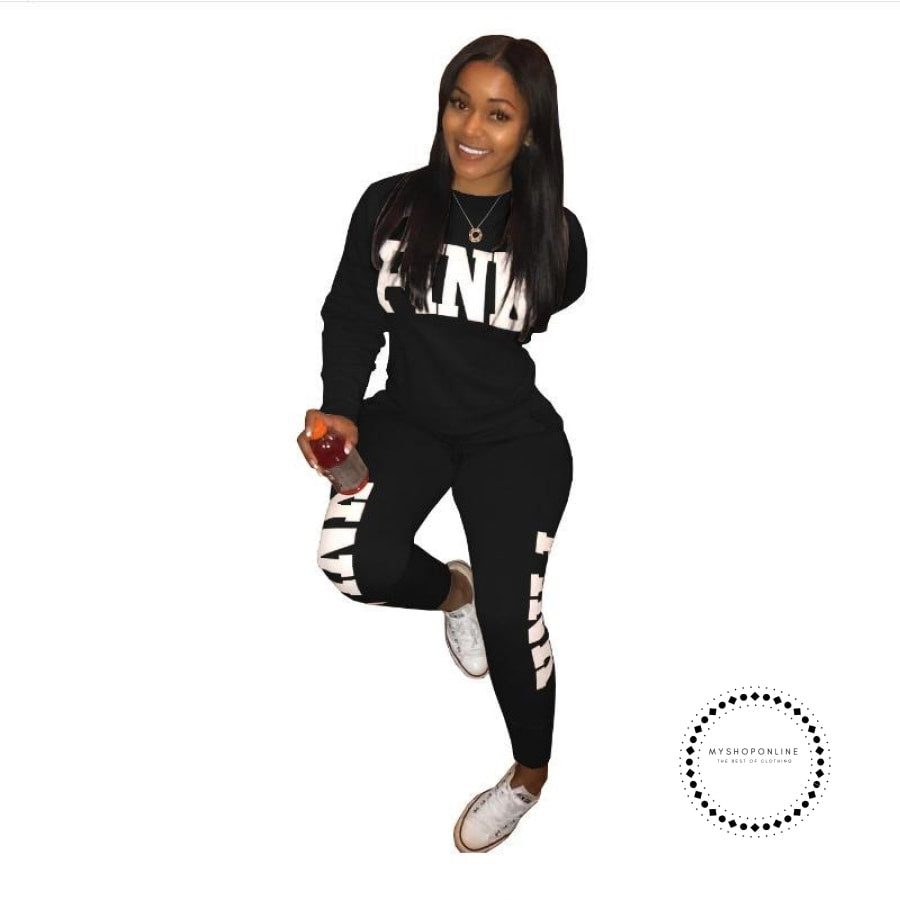 Two Piece Set Women Tracksuits Sweat Suit Casual Sweatshirt Tracksuit Black / S Accesorios