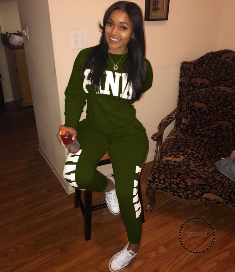 Two Piece Set Women Tracksuits Sweat Suit Casual Sweatshirt Tracksuit Green / M Accesorios