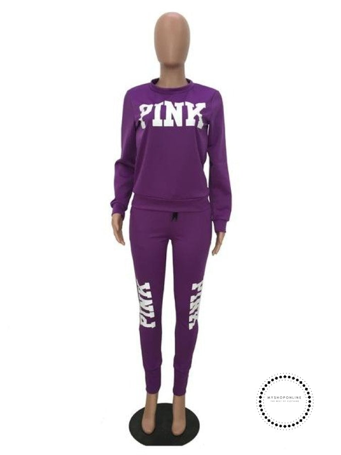 Two Piece Set Women Tracksuits Sweat Suit Casual Sweatshirt Tracksuit Purple / S Accesorios