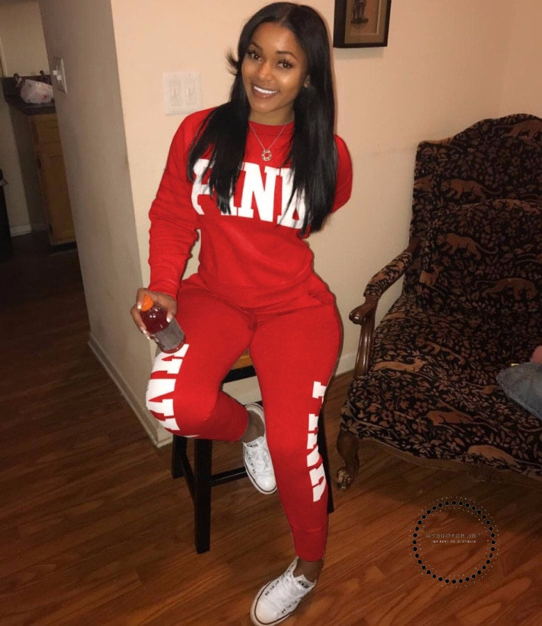 Two Piece Set Women Tracksuits Sweat Suit Casual Sweatshirt Tracksuit Red / S Accesorios