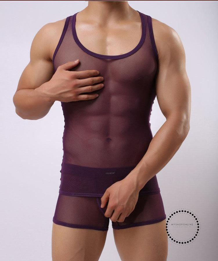 Undershirt Sets Mens Transparent Comfortable Breathable Undershirt Accesorios