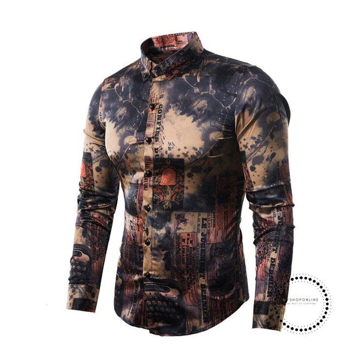 Vintage Print Baroque Style Long Sleeve Shirt Mens Causal Button Down Dress Shirts Wedding Party