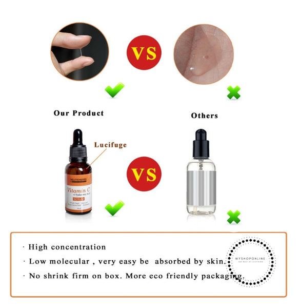 Vitamin C + Hyaluronic Acid Serum For Face Miracle Glow Whitening Facial Lifting Removal Sun Spot