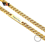 Vnox Punk 29.5 Personalize Engraving Id Tag Curb Link Chain Necklace For Men Gold Color Stainless
