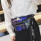 Waist Bag Women Sequins Fanny Pack Bags Designer Fashion Hip Bum Belt Blue