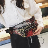 Waist Bag Women Sequins Fanny Pack Bags Designer Fashion Hip Bum Belt Red