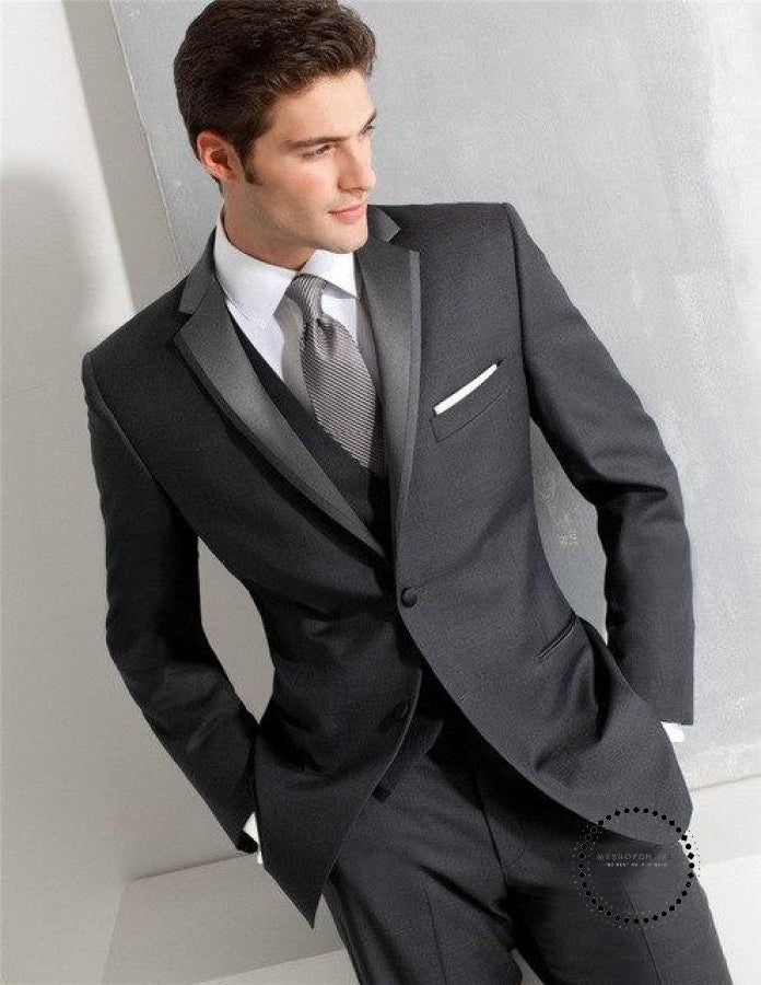 White Groom Tuxedos Best Man Wedding Suits For Men Black Shawl Lapel One Button (Jacket+Pants)