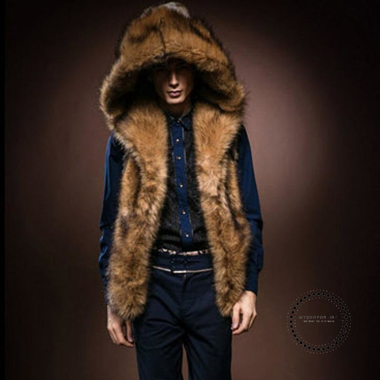 Winter Faux Fur Mens Vest Hooded Plush Jacket Knee Shoulder Coat