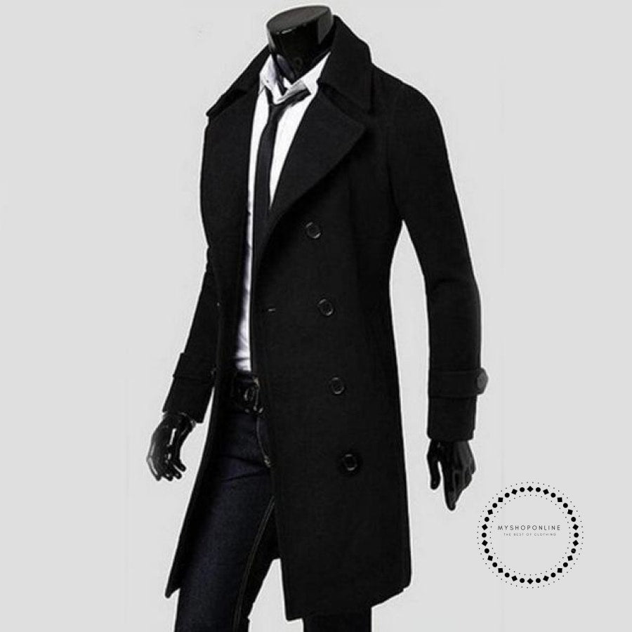 Winter Long Trench Coat Men Black / M Accesorios