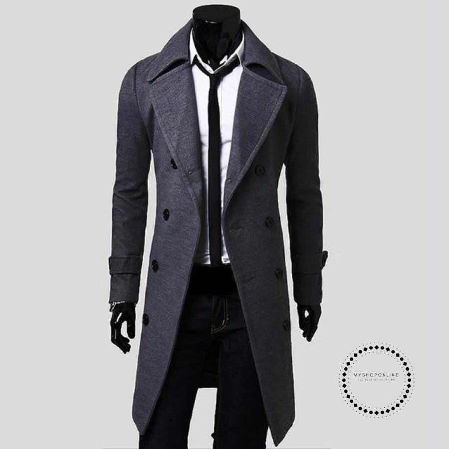 Winter Long Trench Coat Men Gray / M Accesorios