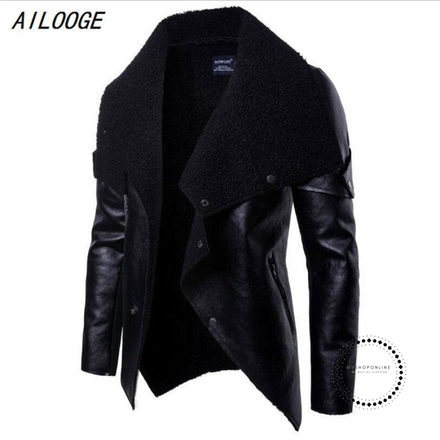 Winter Male Leather Jacket Mens Coats Fur Inside Men Motorcycle High Quality Pu Outwear Jackets Plus