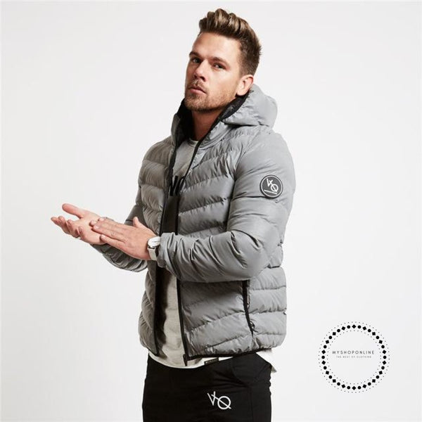 Winter Mens Jacket Outwear With Artificial Cotton Hooded Collar Casual Patchwork Padded Keep Warm
