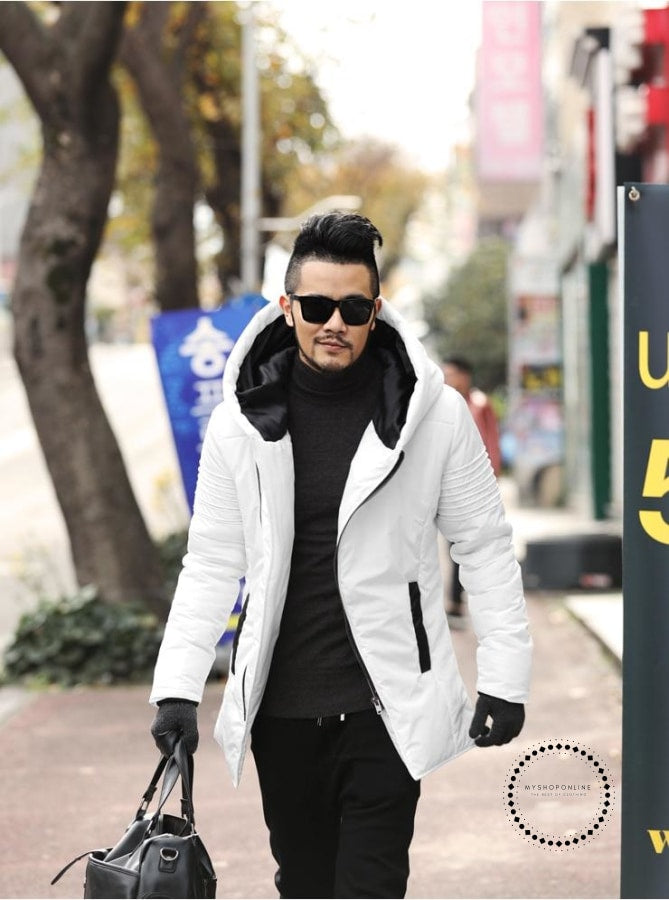 Winter New Mens Jackets Thickening Cotton Coat Men Warm Parkas Male Thick Hooded Coat Outwear White