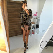 Women Autumn Winter Dress Sexy Black Long Sleeve Dresses Sequin Nightclub Accesorios