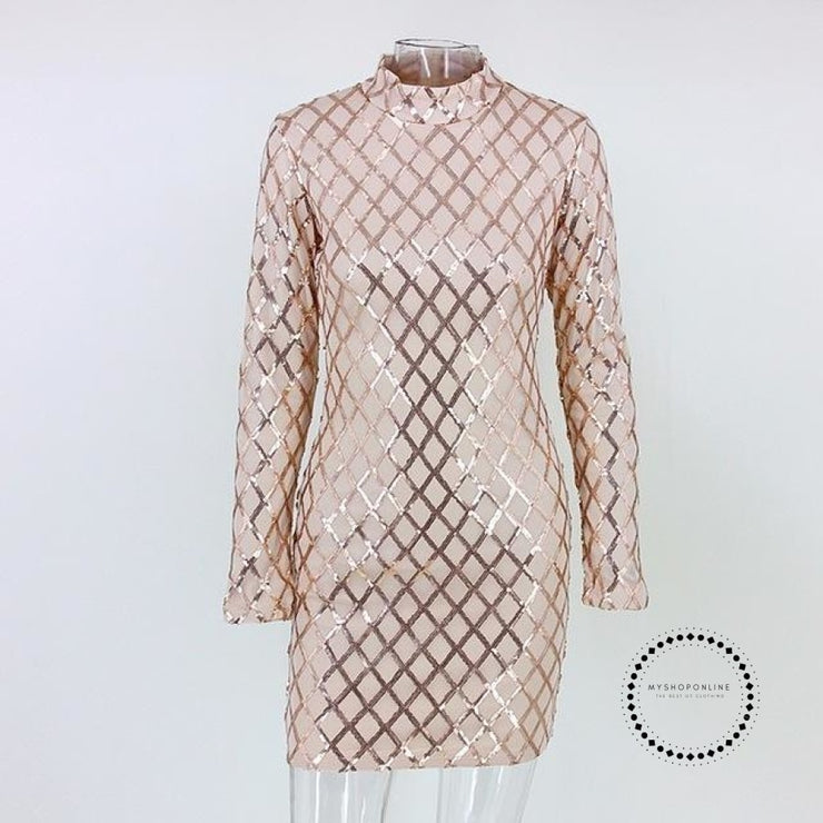 Women Autumn Winter Dress Sexy Black Long Sleeve Dresses Sequin Nightclub Gold / L Accesorios