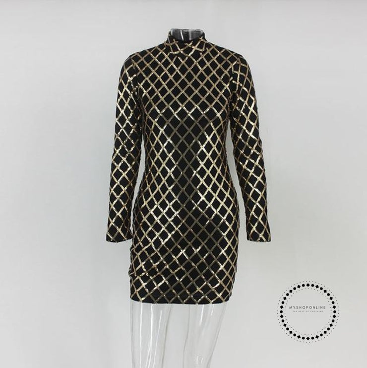 Women Autumn Winter Dress Sexy Black Long Sleeve Dresses Sequin Nightclub / L Accesorios