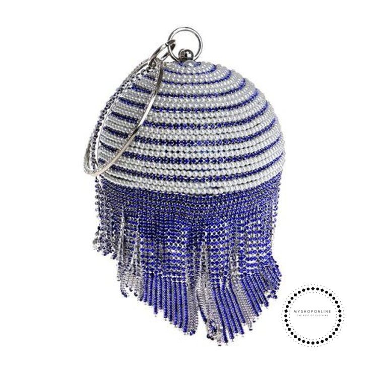 Women Evening Bags Diamonte Sphere Bag Pearls/gold Blue