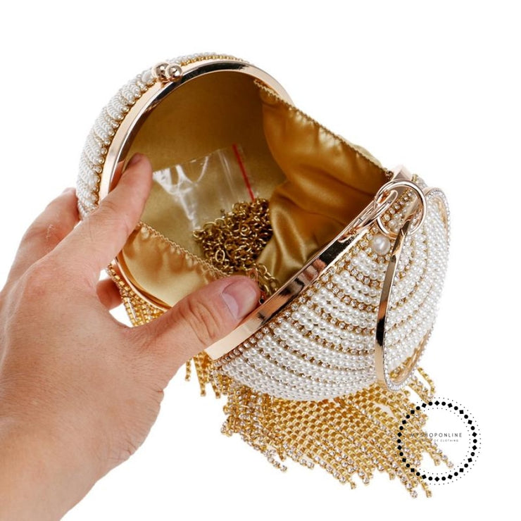 Women Evening Bags Diamonte Sphere Bag Pearls/gold