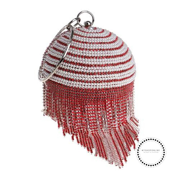 Women Evening Bags Diamonte Sphere Bag Pearls/gold Red
