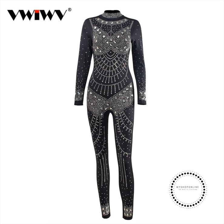 Women Jumpsuit Sequin Diamonds Jumpsuits Long Sleeve Skinny Bodysuits Clubwear Party One Piece