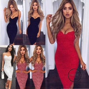 Women Lace Strap Red Dresses Bodycon Pencil Dress Summer Floral Party Clothes