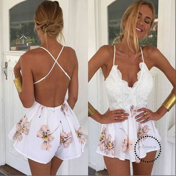 Women Patchwork Lace V Neck Print Playsuit Dress Stiching Strap Backless Cross Dresses Summer