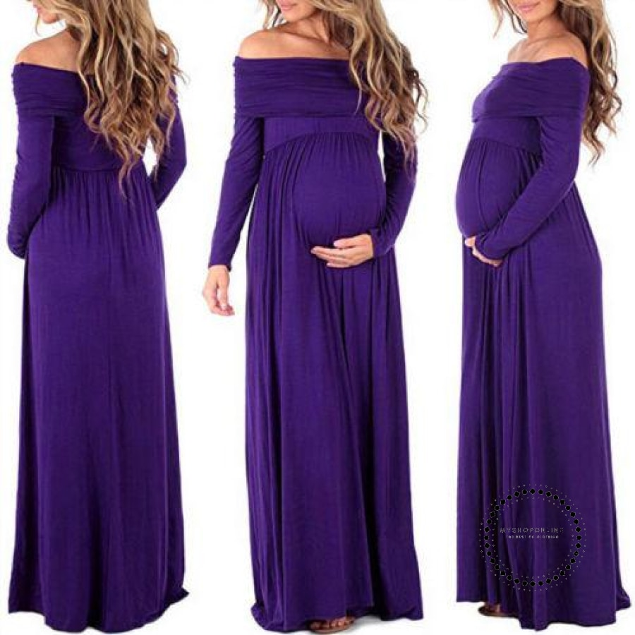 Women Pregnant Long Dresses Off Shoulder Wine Red Beach Maxi Dress