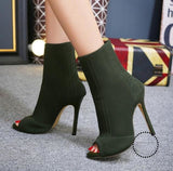 Women Sandals Knitted Stretch Party Shoes Fashion Gladiator Ankle Wholesale Army Green / 35
