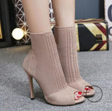 Women Sandals Knitted Stretch Party Shoes Fashion Gladiator Ankle Wholesale Khaki / 35 Accesorios
