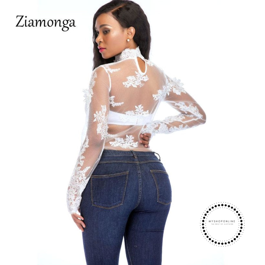 Women Sexy Bodysuit Jumpsuit Romper One Piece Black White Lace Bodycon Body Top Long Sleeve