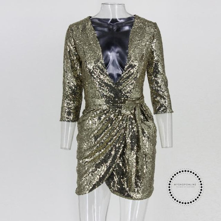 Women Sexy Club Dress Party Night Gold / L Accesorios