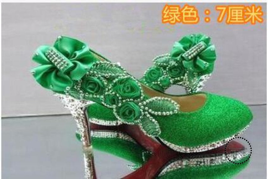 Women Shoes Green 7Cm / 4 Accesorios