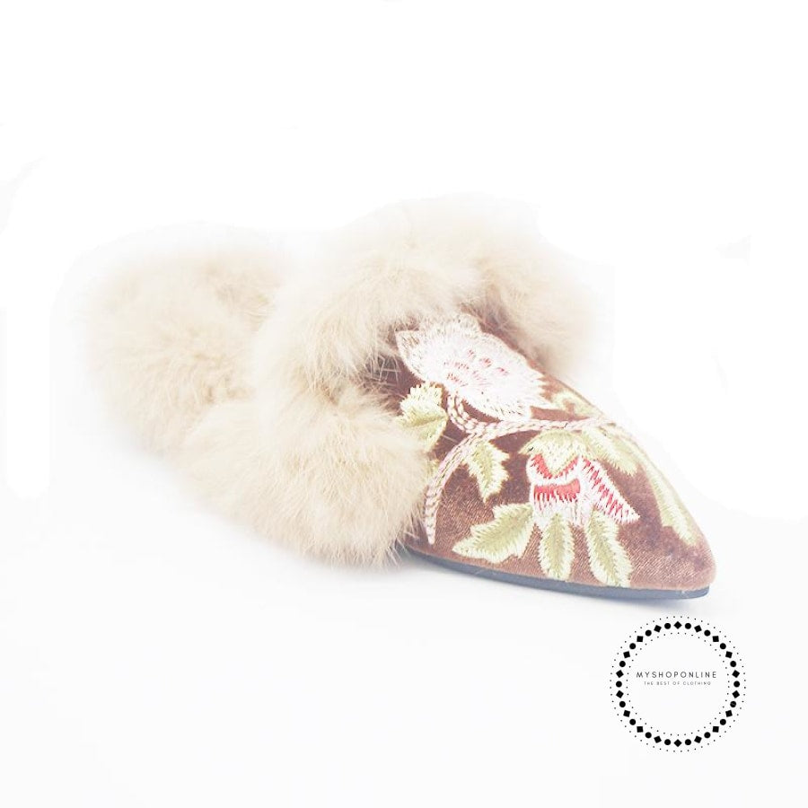Women Slippers Real Rabbit Fur Winter Warm Mules Embroidery Fluffy Pointed Toe Fashion