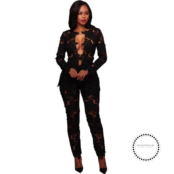 Women Two Piece Sets Hollow Out White Lace Floral Deep V Neck Long Sleeve Top And Pant Suits